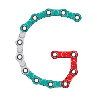 Alfabeto do novo popular brinquedo anti-stress spinner. letra g. ilustração em vetor.