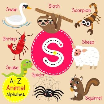 Alfabeto do zoológico de letra s