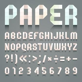Alfabeto dobrado de papel higiênico rosa.