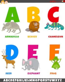 Alfabeto dos desenhos animados com caracteres de animais