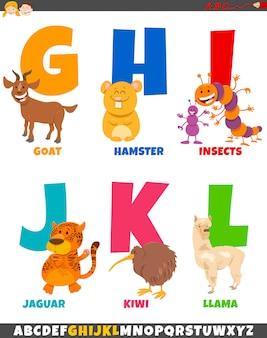 Alfabeto dos desenhos animados com personagens engraçados de animais