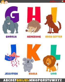Alfabeto dos desenhos animados com personagens fofinhos de animais