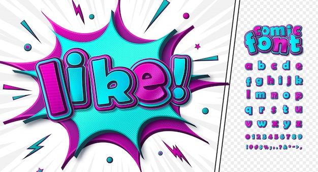 Alfabeto dos desenhos animados no estilo quadrinhos e pop art