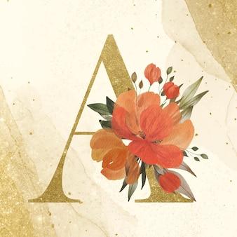 Alfabeto dourado a com decoração de flores em aquarela sobre fundo dourado para marca e logotipo do casamento