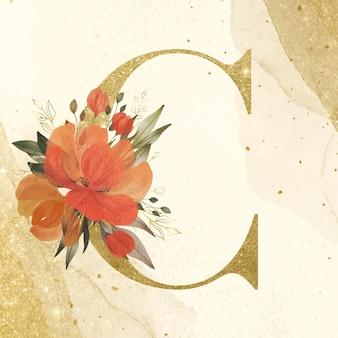 Alfabeto dourado c com decoração de flores em aquarela para a marca e logotipo do casamento