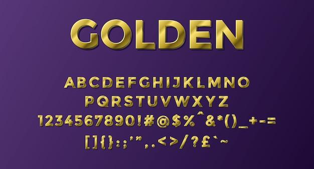 Alfabeto dourado completo com números e símbolos