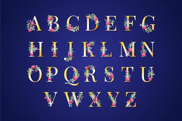 Alfabeto dourado elegante com flores