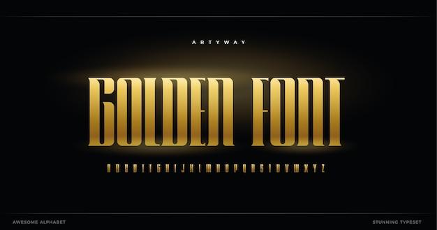 Alfabeto dourado luxuoso.