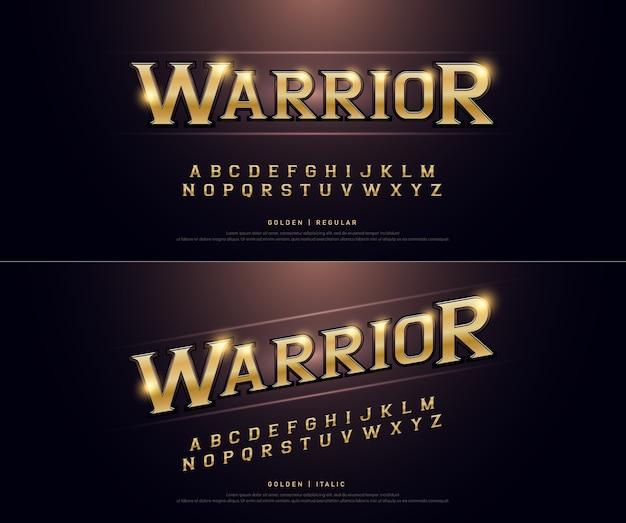 Alfabeto dourado metálico e efeito.