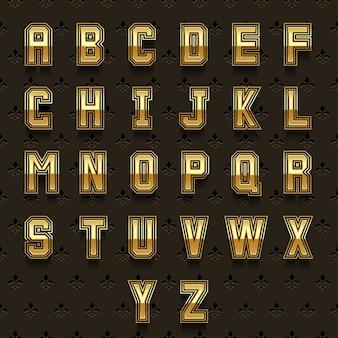 Alfabeto dourado retrô. tipo abc, desenho de composição brilhante, coleção real