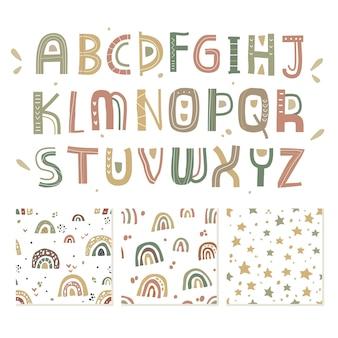 Alfabeto e conjunto de padrão sem emenda no elemento escandinavo pastel chiqueiro