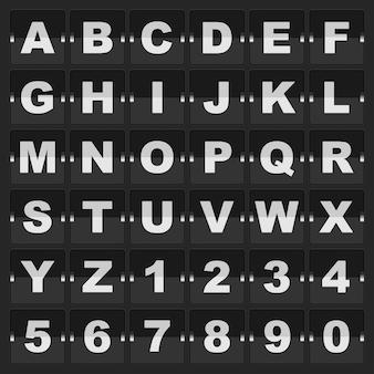 Alfabeto e dígitos da mecânica do painel de informações