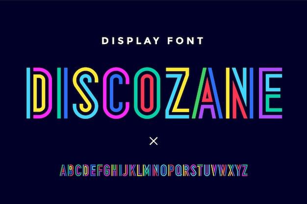 Alfabeto e fonte condensados de linha. letras maiúsculas coloridas de contorno.