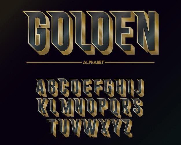 Alfabeto e fonte dourada elegante moderna