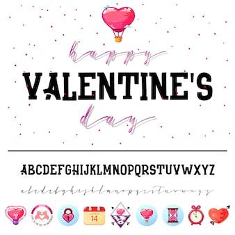 Alfabeto e ícones do dia dos namorados