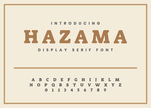 Alfabeto e número de fonte serif de exibição vintage