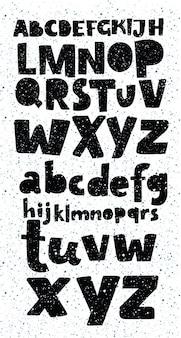 Alfabeto e números completos do grunge