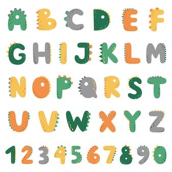 Alfabeto e números engraçados de dino. letras maiúsculas no estilo dos dinossauros