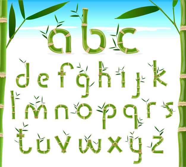 Alfabeto ecológico de bambu, fonte de vetor tropical exótica
