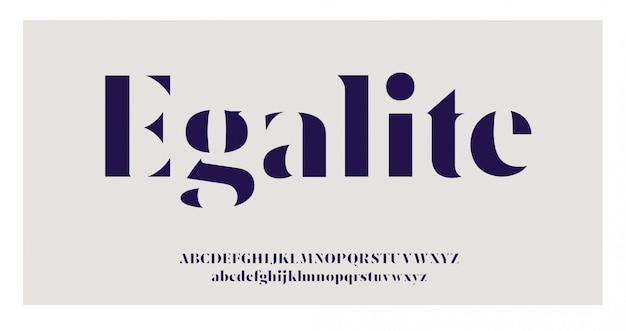 Alfabeto elegante letras serif fonte e número definido