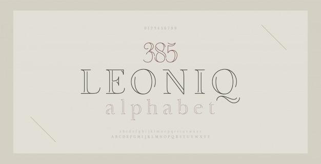 Alfabeto elegante letras serif fonte e número. letras clássicas linha fina moda minimalista.