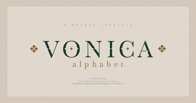 Alfabeto elegante letras serif fonte e número. letras clássicas moda minimalista. fontes de tipografia maiúsculas, minúsculas e números regulares. ilustração