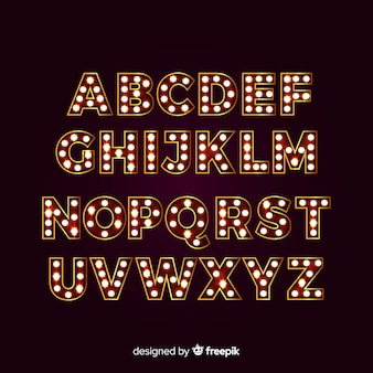 Alfabeto em destaque com luzes de teatro