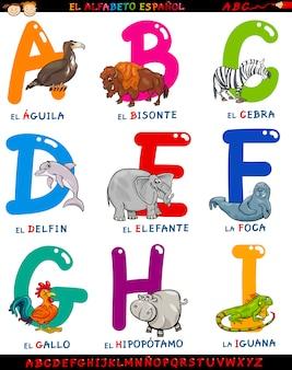 Alfabeto em espanhol de desenhos animados com animais