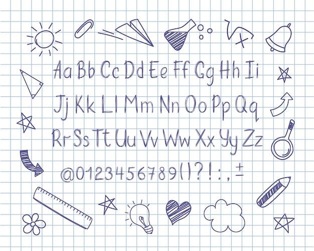 Alfabeto em estilo esboçado com escola doodles na folha de caderno.