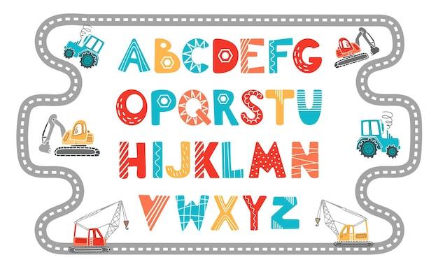 Alfabeto em estilo escandinavo ilustração em vetor infantil maquinaria de construção