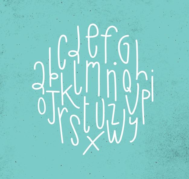 Alfabeto em estilo moderno desenho sobre fundo turquesa sujo