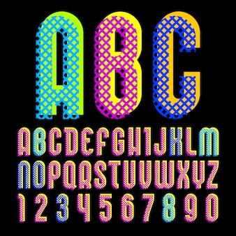 Alfabeto em estilo pop art, letras de vetor