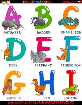 Alfabeto em inglês de desenhos animados com animais
