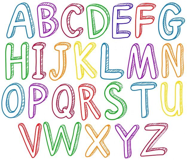 Alfabeto em inglês do arco-íris a a z