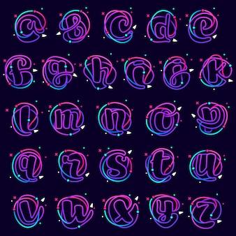 Alfabeto em minúsculas com planetas, foguetes e linhas de órbitas. modelo de vetor de linhas vibrantes para ciência, biologia, física, design de química.