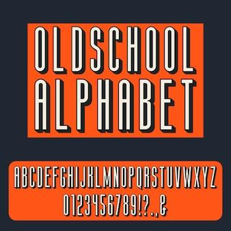 Alfabeto em negrito condensado vintage. estilo retrô de letras, esboçadas letras e numerais, ações