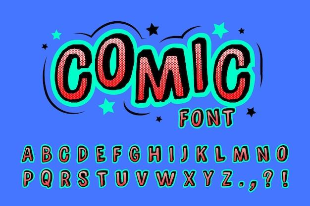 Alfabeto em quadrinhos 3d colorido