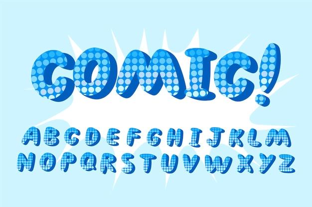 Alfabeto em quadrinhos 3d com ponto de exclamação