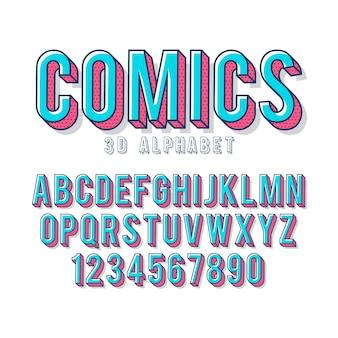 Alfabeto em quadrinhos 3d