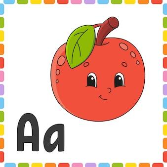 Alfabeto engraçado cartões flash quadrados abc.