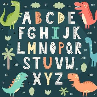 Alfabeto engraçado com dinossauros bonitos. cartaz educativo para crianças