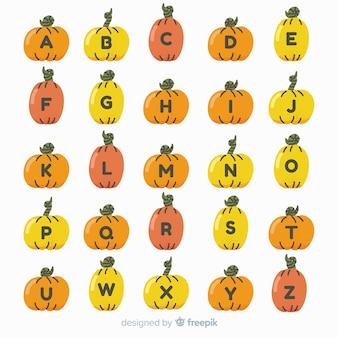 Alfabeto engraçado dos desenhos animados de legumes abóbora laranja