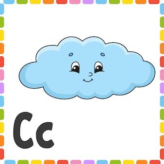 Alfabeto engraçado letra c - nuvem. cartões flash quadrados abc.