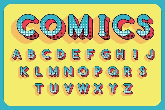 Alfabeto engraçado tridimensional