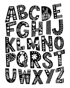 Alfabeto escandinavo desenhado de mão.