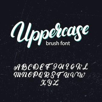 Alfabeto escova maiúscula. mão escrita fonte maiúscula.