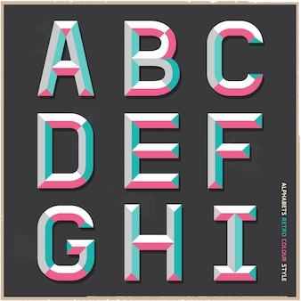 Alfabeto estilo retro cor