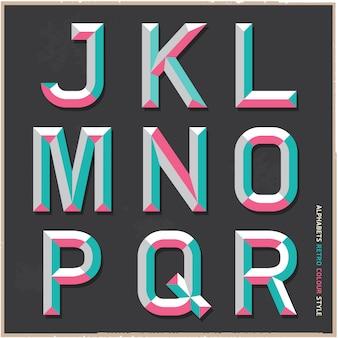Alfabeto estilo vintage cor