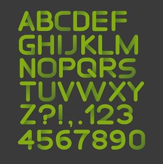 Alfabeto estrito de papel verde arredondado. isolado no preto
