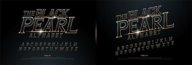 Alfabeto exclusivo dourado metálico e efeito